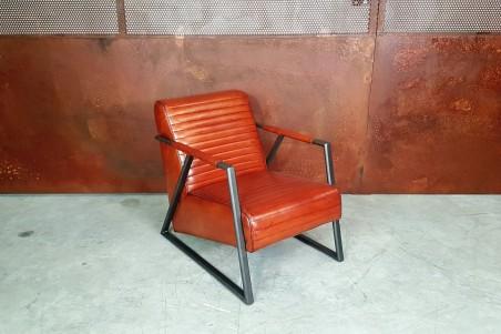 Fauteuil cuir cognac et métal, déco vintage, style indus, design loft, art contemporain