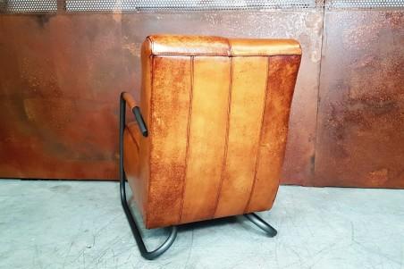 Fauteuil cuir camel foncé vintage design métal  style indus déco loft