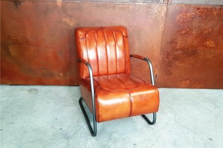 Fauteuil cuir cognac vintage design métal  style indus déco loft