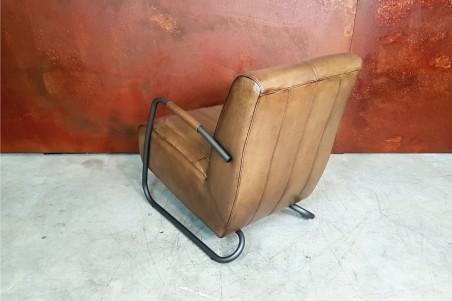 Fauteuil cuir vert olive vintage design métal  style indus déco loft