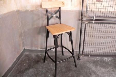 Chaise de bar métal et bois, esprit bistrot, café, style industriel, déco vintage, design steampunk, original