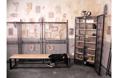 Banc bois et métal, grillage, style industriel, déco vintage, design steampunk, original
