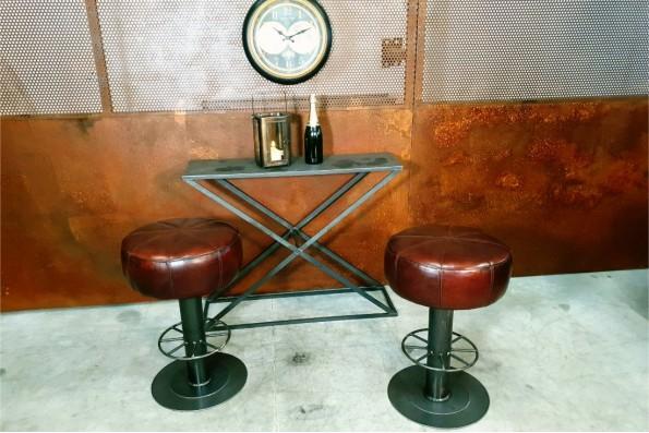 Tabouret métal cuir vintage avec repose pieds rond bar comptoir restaurant