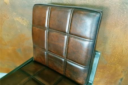 Chaise pour bar en cuir marron et métal chaise bar chaise îlot central déco vintage style indus design
