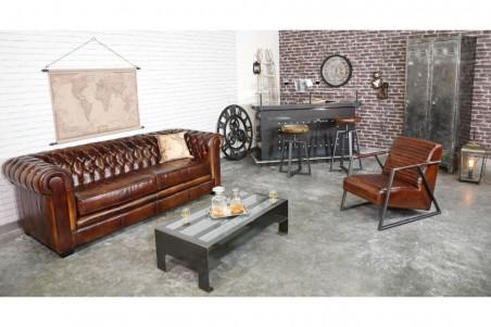 Fauteuil cuir marron et métal, déco vintage, style indus, design loft, art contemporain