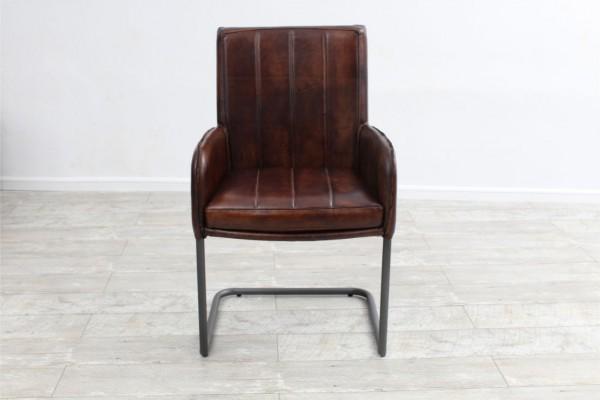 Chaise en cuir et métal suspendu, déco vintage style indus design loft art contemporain