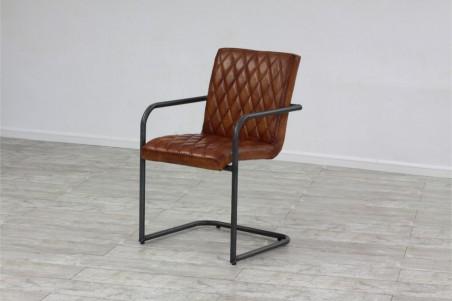 Chaise en cuir et métal déco vintage style indus design loft art contemporain